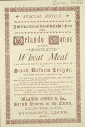 Advert for Orlando Jones & Co's Granulated Wheat Meal
